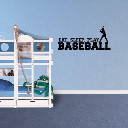 Wall Decal Quote Eat Sleep Play Baseball Lettering Vinyl Decor Sticker Room Sports - Baseball Wall Decor
