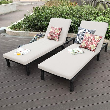 Oakville Furniture Outdoor Patio Rattan Wicker Adjustable Pool Chaise Lounge Chair Set of 2, Brown Wicker, Beige Cushion ()