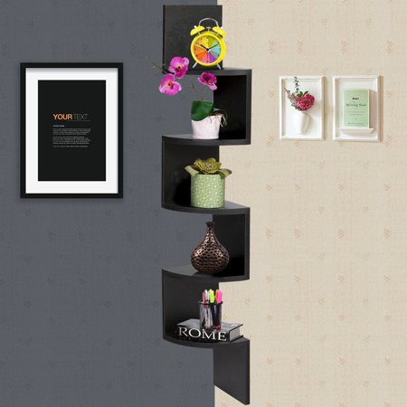 New Mtn G Details About Black Large Corner Mdf Zig Zag Wall Shelf Finish Storage Display Decor Furniture