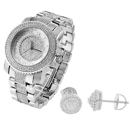 Techno Pave Iced Out Watch Analog Quarts Free Studs 8Mm Earrings Halo Solitaire