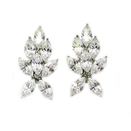 Clear Crystal Pierced Earrings - Faship Clear Rhinestone Crystal Pierced Earrings