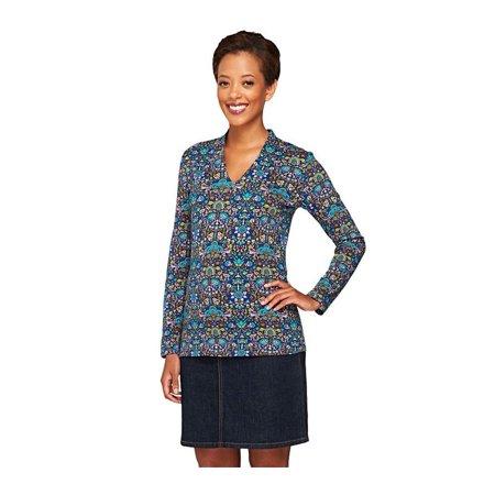 Liz claiborne ny printed v neck knit long slv top a258108 for Liz claiborne v neck t shirts
