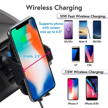 Wireless Car Charger Mount by Insten Motion Sensor Air Vent Phone Holder with Wireless Charging Pad and USB QC 3.0 Car Charger Power Adapter for iPhone X 8 Plus Samsung Galaxy S9 S9+ S8 LG G7 ThinQ - image 3 de 5