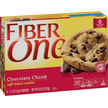 Fiber One Cookies Soft Baked Chocolate Chunk Cookies 6 Pouches 6.6 oz - Halloween Acorn Cookies