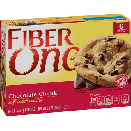 Fiber One Cookies Soft Baked Chocolate Chunk Cookies 6 Pouches 6.6 oz Chocolate Semi Sweet Cookies