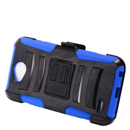 insten Advanced Armor Dual Layer [Shock Absorbing] Hybrid Stand Hard Plastic/Soft Silicone Case Cover Holster For LG X Power 2, Black/Blue - Fallout Power Armor For Sale