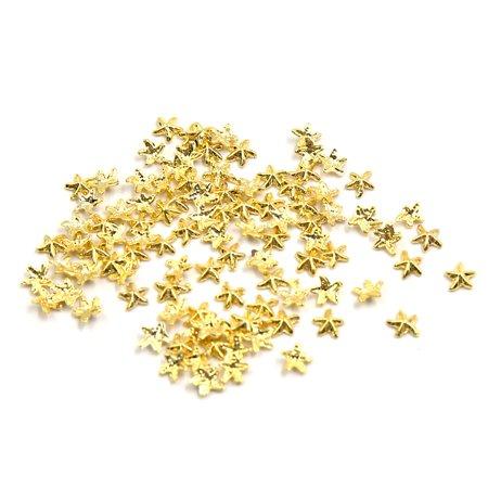 100pcs Gold Tone Alloy Starfish Shape DIY 3D Nails Art Slices Glitter Toes Tips Decoration Ornament (Starfish Decorations)
