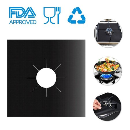 "Reusable Gas Stove Burner Covers, MZTDYTL Non-stick Stovetop Burner Liners Gas Range Protectors for Kitchen- Size 10.6"" x 10.6""-Double Thickness 0.2mm, Cuttable, Dishwasher Safe, Easy to Clean Black Non Stick Range"