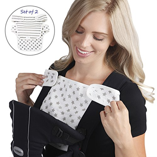 Baby Preferred® Drool and Teething Bibs Designed to Easy Snug Infant fit Ergo Babybjorn Lillebaby Carriers - White & Grey Stars ( carrier NOT included)