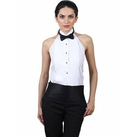 Black Notched One Button Tuxedo (Women's Tuxedo Halter Shirt and Black Bow Tie Set )