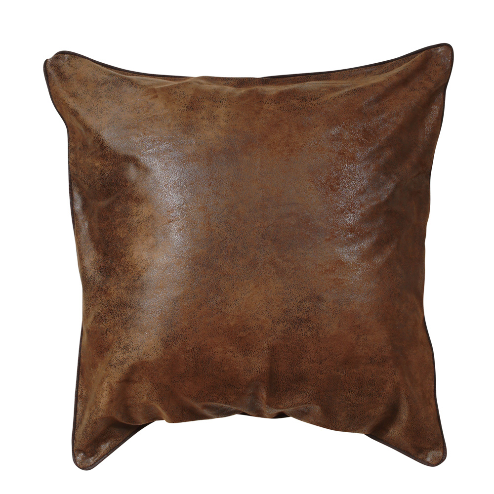Medium Brown Faux Leather Western Euro Sham - Rustic Bedding Decor