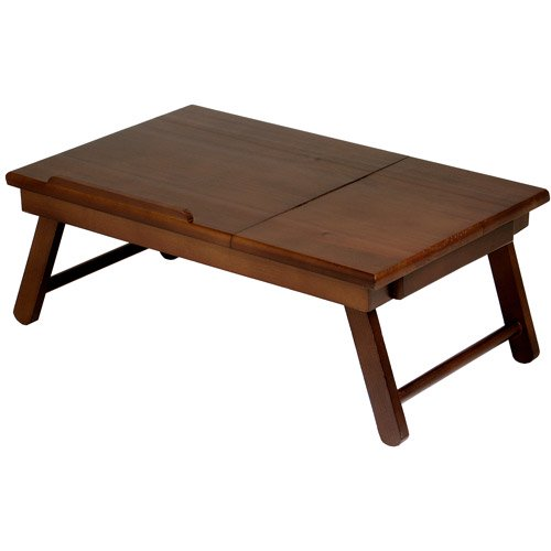 Winsome Alden Lap Desk Bed Tray With Drawer Walnut