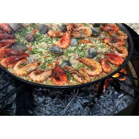 - LAMINATED POSTER Seafood Lena Fire Shrimp Prawns Paella Valencia Poster Print 24 x 36