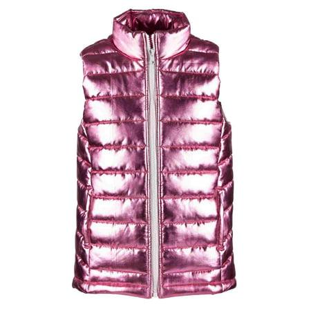 Toddler Girls Shiny Metallic Pink Puffer Jacket Vest 2T