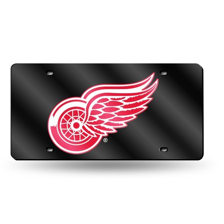 Red Laser License Plate (Detroit Red Wings NHL Black Mirrored Laser Cut License Plate Laser)