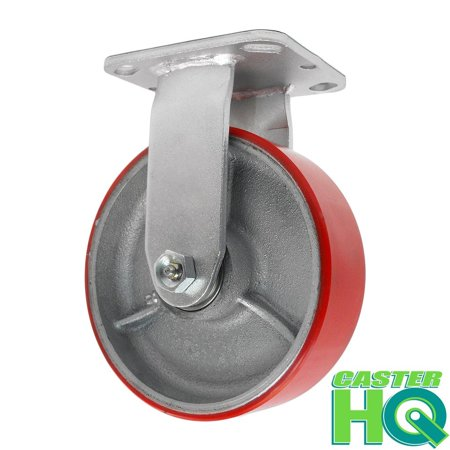 2in Replacement Wheels - CasterHQ 6 Inch Rigid Fixed Caster - 6 X 2 Polyurethane on Iron Wheel - 1200 Lb Weight Capacity - Great For Tool Box Replacements or Heavy Equipment - Easy Push