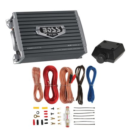 Boss Armor 1200 Watt 2 Channel Amplifier with Level Remote + 8 Gauge Wire (1200 600 Watt Power Amplifier)