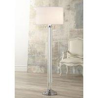 Possini Euro Design Modern Floor Lamp Steel Crystal Glass Column Linen Drum Shade For Living Room Reading Bedroom Office
