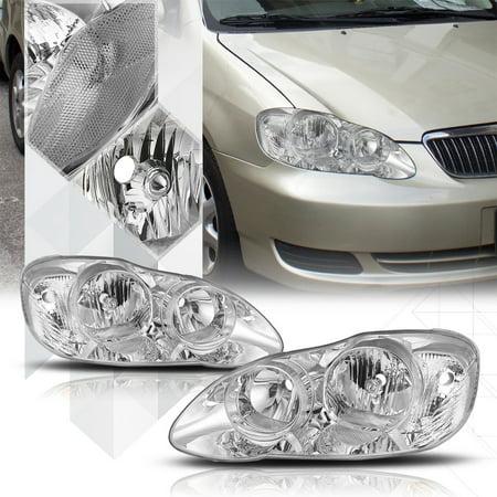 Chrome Housing Headlight Lamp Clear Signal Reflector for 03-08 Toyota Corolla 04 05 06 (04 Toyota Avalon Headlight)