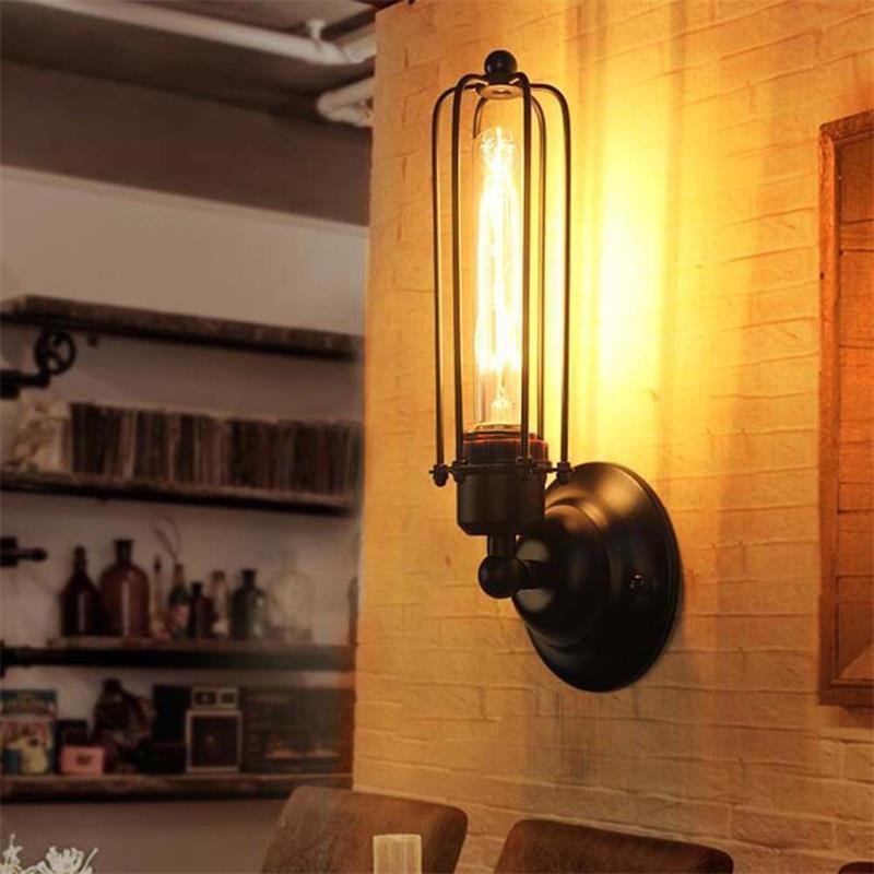 Meigar Vintage Industrial Retro Iron 1/2 Heads Wall Lamp Sconce Light Edison Bulb Bedroom Gardon Indoor Outdoor Decor