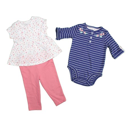 Carters 3 Piece Baby Girls 6 Month Bodysuit, Pants & Top, Navy/White/Pink/Multi