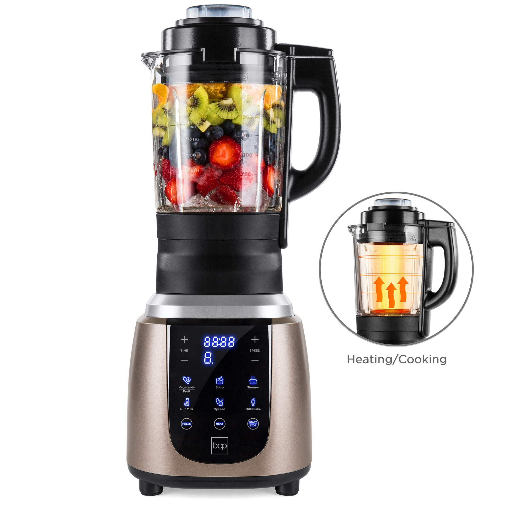 Best Choice Products 1200W 1.8L Multifunctional High-Speed Digital Professional Kitchen Smoothie Blender for Juices, Baby Food, Soup w/ Heating Function, Auto-Clean, Glass Jar, Up To 42,000RPM