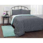 Heritage Club Motif Mint Bed in a Bag Bedding Set, Black, Twin, Polyester, Floral, Comforter Sets