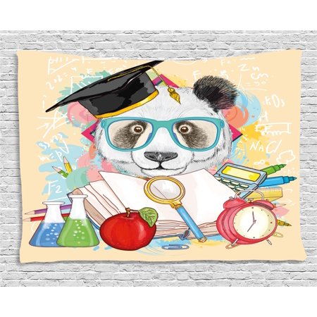 Art Glass Hanging (Animal Tapestry, Panda Goes to School Humor Education Hipster with Glasses Books Pen Graphic Art, Wall Hanging for Bedroom Living Room Dorm Decor, 60W X 40L Inches, Multicolor, by)