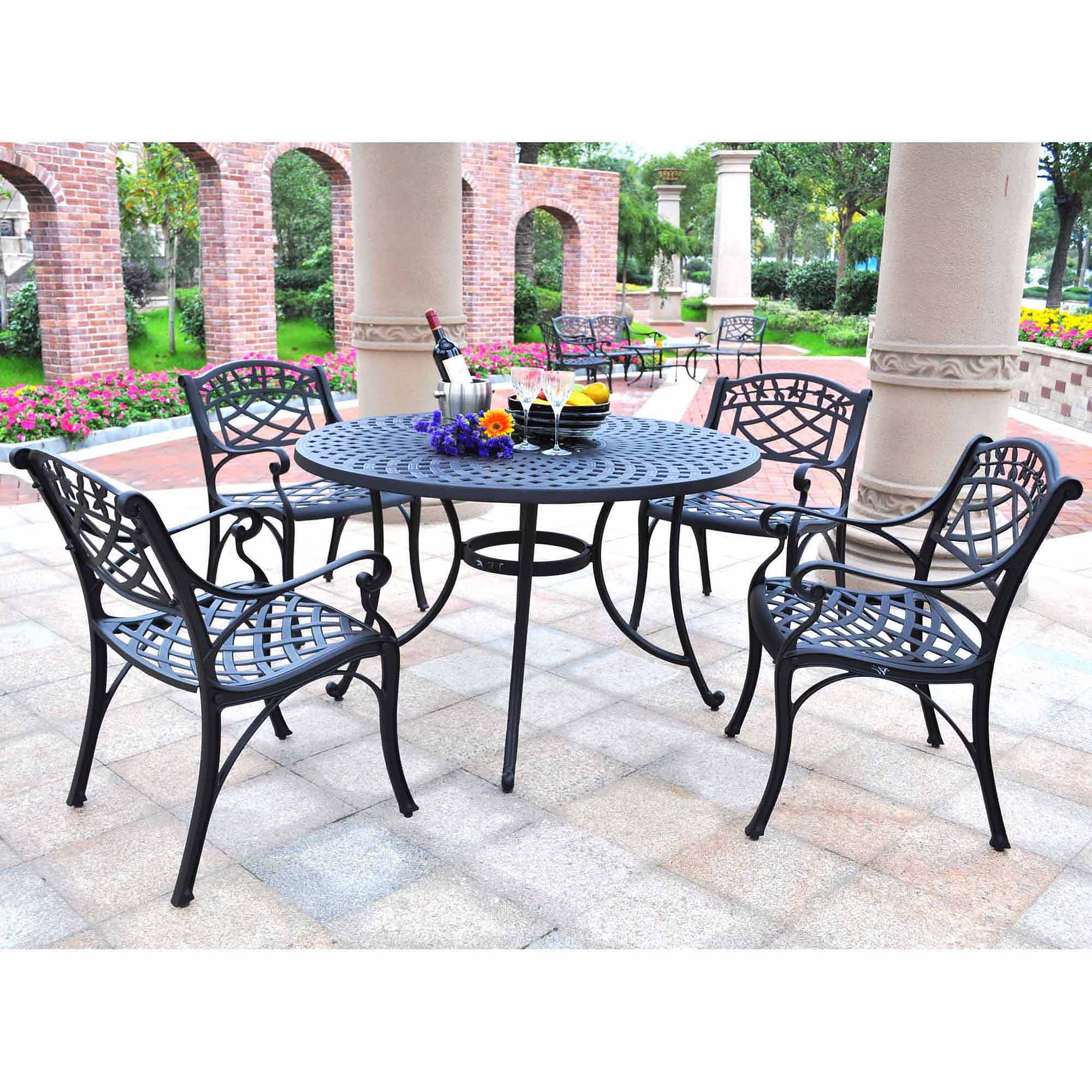 "Crosley Furniture Sedona 46"" Five-Piece Cast Aluminum Outdoor Dining Set"