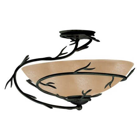 Kenroy Home Rustic 1 Light Semi Flush Mount, 20 Inch Diameter, Rich Oil Rubbed Bronze, Amber Glass Shade, Winding Branch Detail, Easy Installation