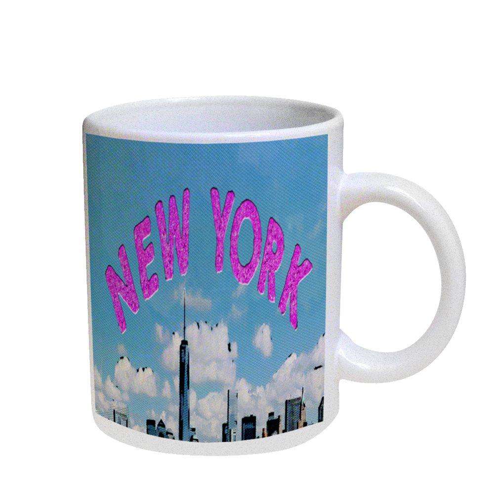 KuzmarK Coffee Cup Mug Pearl Iridescent White - New York Manhattan