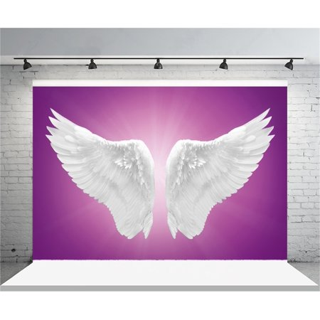 GreenDecor Polyster 7x5ft White Angel Wings Backdrop Dreamy Pure Photography Background Girl Adult Artistic Portrait Photo Shoot Studio Props Video Drop Drape - Dreamy Halloween Backgrounds