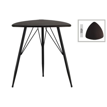 Metal Triangular Table with Curved Edges, Gunmetal -