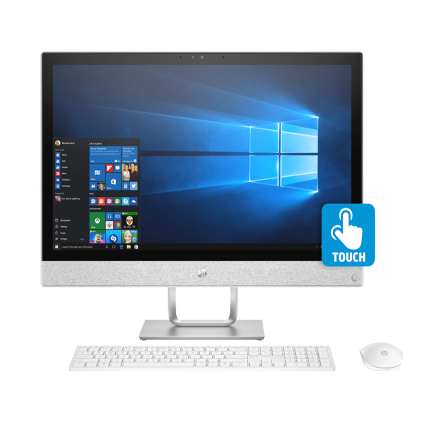 "HP Pavilion 24-x020 Premium Home and Business All-in-One Desktop (AMD A12-9730P Quad-Core, 16GB RAM, 120GB Sata SSD, 23.8"" Full HD 1920 x 1080 Touchscreen, AMD Radeon R7, DVD, Win 10 Pro)"