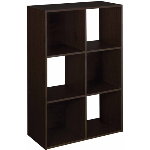 6 Cube Organizer Wooden Storage Shelf Bookcase Furniture Genuine Espresso Ebay