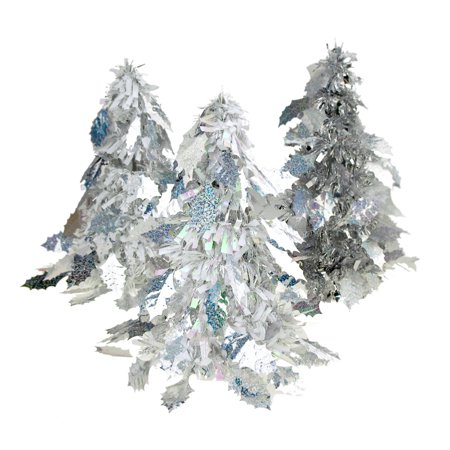 Iridescent Holly Leaf Christmas Tinsel Tabletop Tree, Silver, 10-Inch, 3-Piece ()