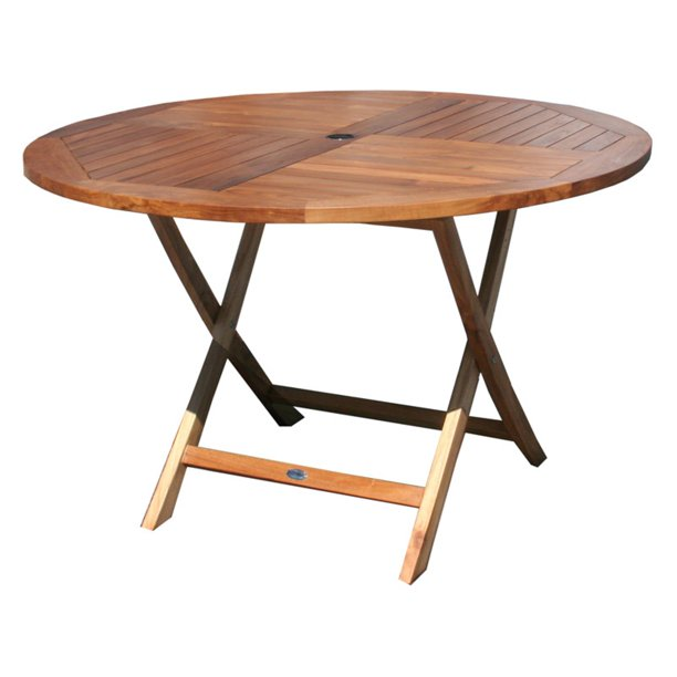 Chic Teak Java Folding Round Patio, Outdoor Foldable Round Dining Table