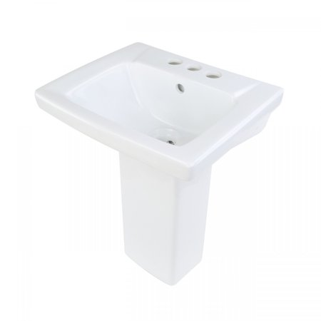 Entertainment Centerset (White Pedestal Sink China Child Sized with Centerset Faucet Holes and Overflow )