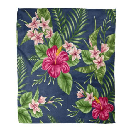 KDAGR Throw Blanket 58x80 Inches Pink Hawaiian Tropical Floral with Plumeria and Hibiscus Flowers Beige Leaf Beach Warm Flannel Soft Blanket for Couch Sofa Bed