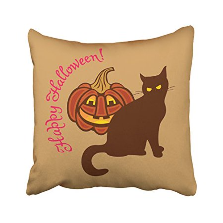 WinHome Cool Funny Black Cat Pumpkin Celebrates Happy Halloween Polyester 18 x 18 Inch Square Throw Pillow Covers With Hidden Zipper Home Sofa Cushion Decorative Pillowcases - Cool Halloween Cover Photos