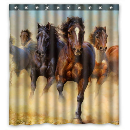 GCKG Horse Pattern Bathroom Shower Curtain, Shower Rings Included 100% Polyester Waterproof Shower Curtain 66x72 inches ()
