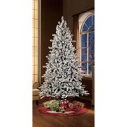 holiday time pre lit 75 green flocked birmingham fir artificial christmas tree clear - Pre Lighted Christmas Trees
