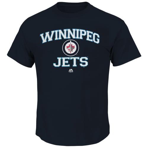 Winnipeg Jets Majestic Heart & Soul T-Shirt - Navy Blue