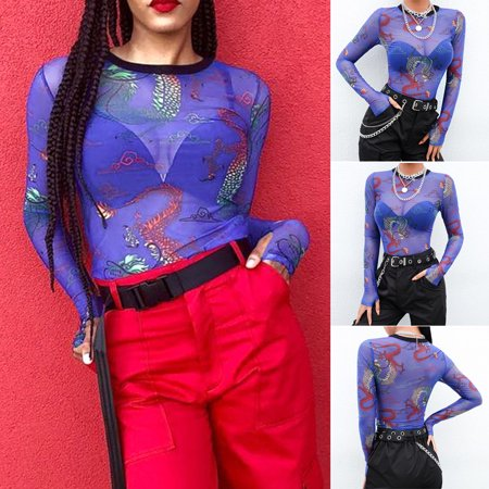 Pattern Womens Fashion (Fashion Women Mesh Perspective Long Sleeve Dragon Pattern Print Thumb Button)