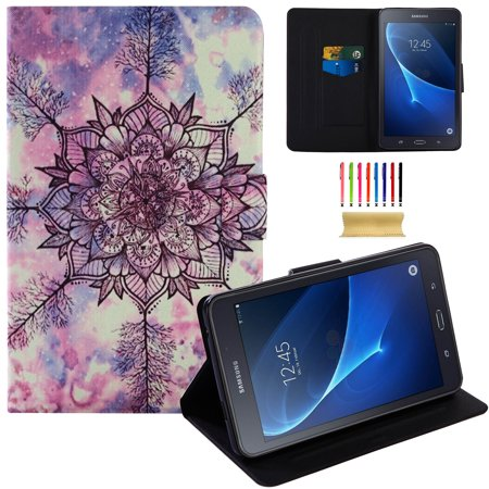 Galaxy Tab A 7.0 Case, Allytech Slim Fit PU Leather Flip Folio Stand Wallet Smart Case Covers Support Auto Wake/Sleep for Samsung Galaxy Tab A 7.0 SM-T280/T285, Snow Flower