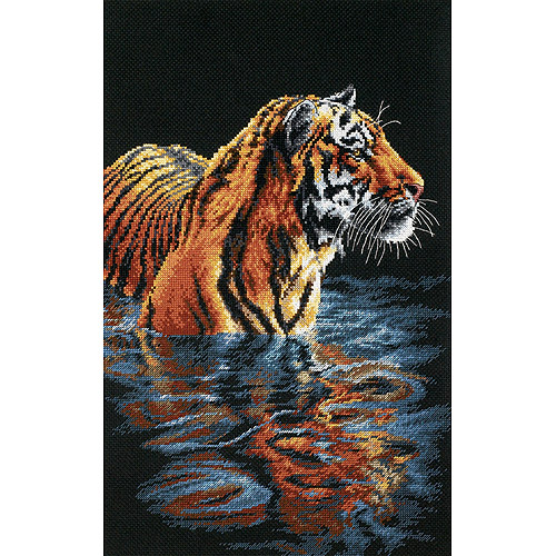 "Dimensions ""Tiger Chilling Out"" Counted Cross Stitch Kit, 9"" x 14"""