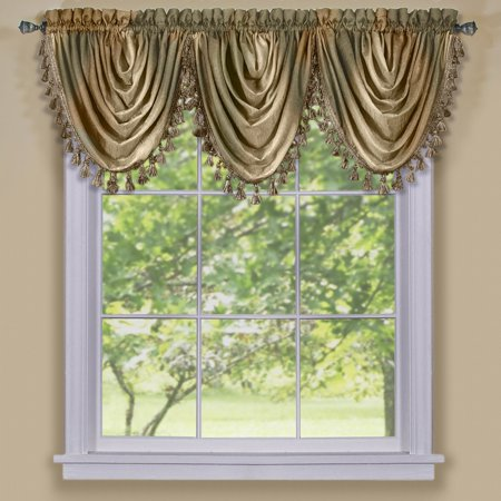Ombre Waterfall Valance, Earth, Panel, Scarf and Tie Up sold separately By Achim Home Furnishings Ship from US