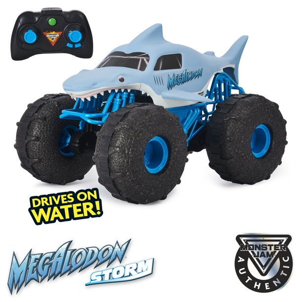 Monster Jam Official Megalodon Storm All Terrain Remote Control Monster Truck 1 15 Scale Walmart Com Walmart Com