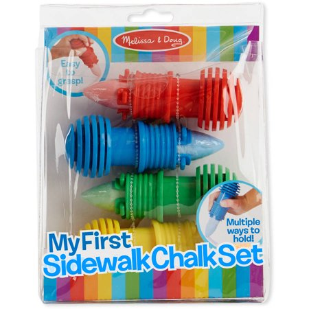 Melissa & Doug My First Sidewalk Chalk Set With Holders - 4 Chalk Sticks and 4 Holders