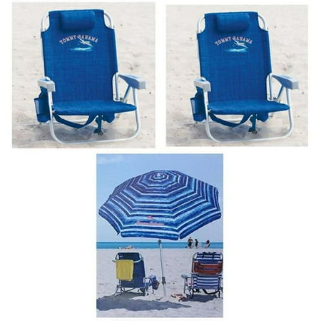 2 Tommy Bahama Backpack Cooler Beach Chairs 1 Umbrella Blue